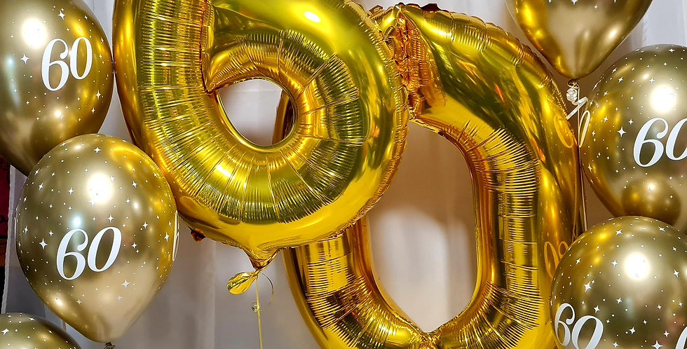 """2 foil numbers 34"""" + 6 latex printed 60th balloons incl.helium"""