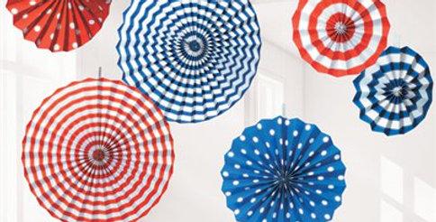 Red, White & Blue Paper Fan Decorations - 40cm 6pk