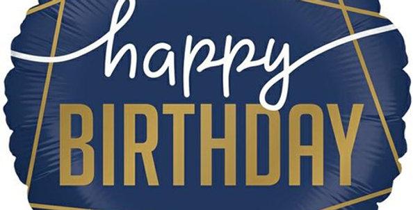 Happy Birthday Navy Geode Balloon - 18'' Foil