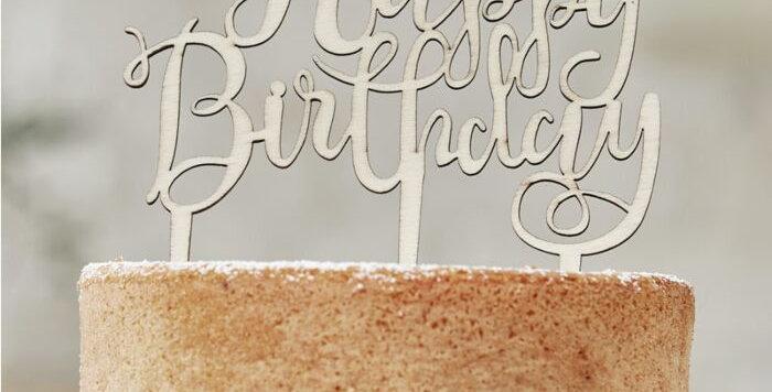 HAPPY BIRTHDAY WOODEN CAKE TOPPER - BOHO