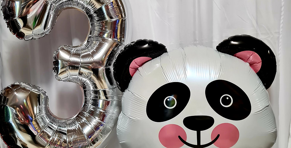 """1 number foil balloon 34"""" and 1 panda supershape foil  balloon including helium"""