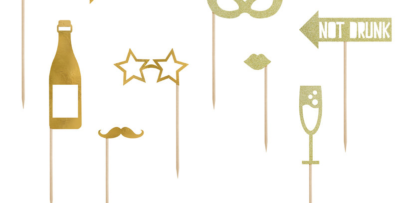 Photo props Let's Celebrate in gold colour, mix of designs, do it yourself produ