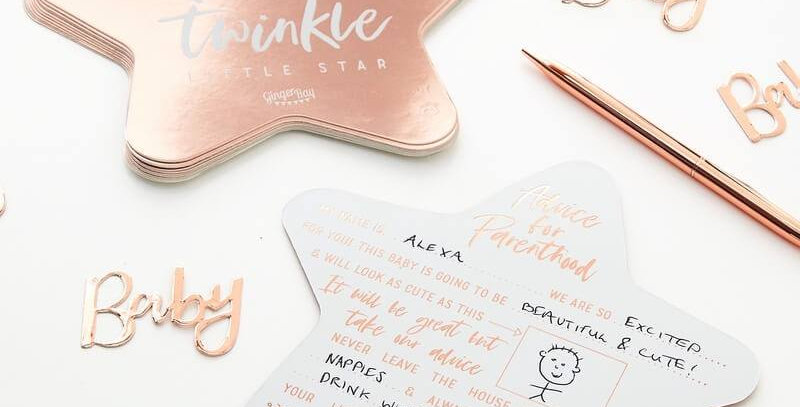ROSE GOLD FOILED BABY SHOWER ADVICE CARDS - TWINKLE TWINKLE  10 CARDS