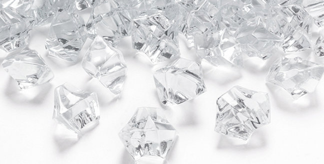 Crystal ice, colourless, size 25x21 millimeters. 50pk