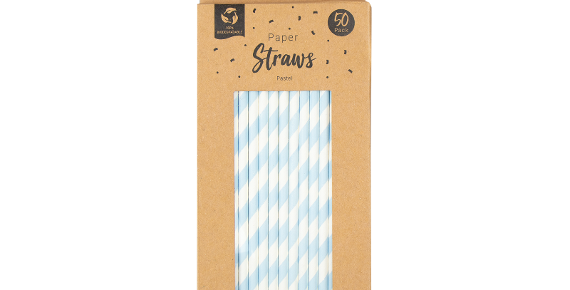 Paper Straws Bright / pastel - 50 Pack