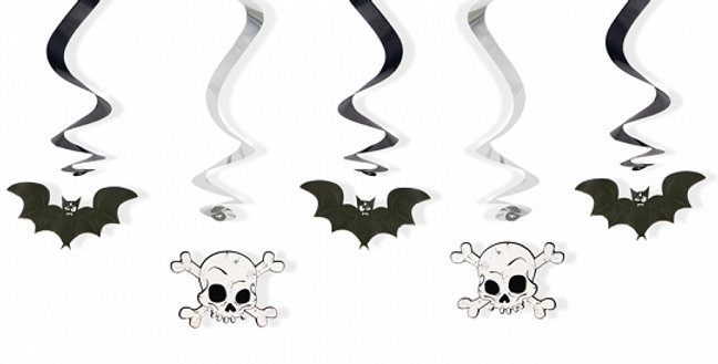 Swirls Bats and skulls, black and white, length approximately 60 centimeters. 5p