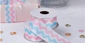 Pattern Works Pink & Blue Printed Ribbon - 2.5m (each)