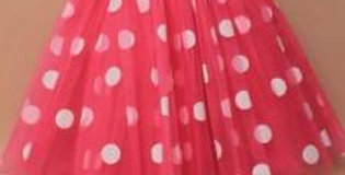 Fuschia pink net tutu with large white print