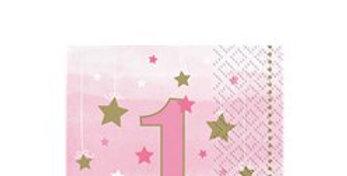 One Little Star Girl 1st Birthday Napkins - 25cm (16pk)