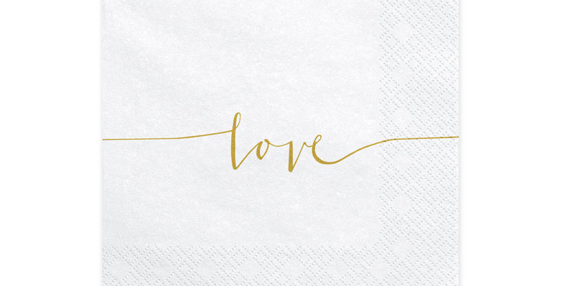 3-layer napkins in white colour with gold inscription Love, size after unfolding