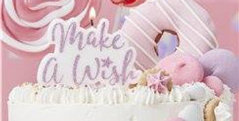 Unicorn Wishes 'Make A Wish' Pink Glitter Candle - 11.5cm (each)
