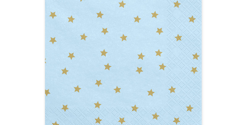 3-layer napkins Stars, light sky-blue with gold print 20pk