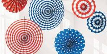 Red, White & Blue Paper Fan Decorations - 40cm 6pk