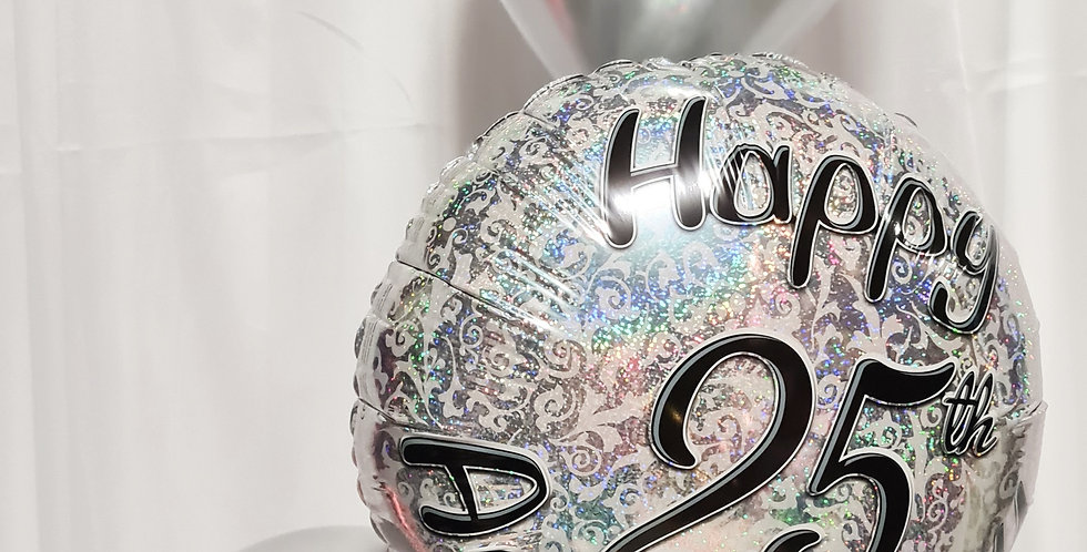 """25th Anniversary 18"""" Foil balloon with 2 chrome latex 12"""" incl.helium"""