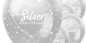 "25th Silver Wedding Anniversary Balloons - 12"" Latex (6pk)"