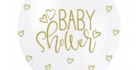 Baby Shower Gold 5CT 12' Helium Fill Latex Balloon- Pearlized Printed All Around