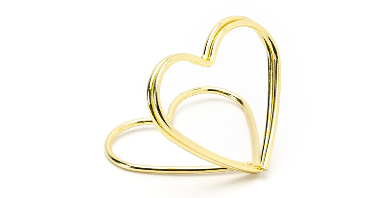 Place card holders Hearts, gold, height approx. 2.5 cm. 10pk
