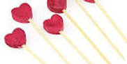9pk Glitter Heart on wooden sticks