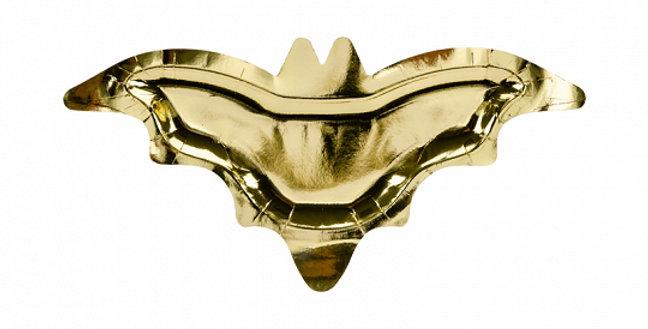 Paper plates Bat in mirror gold colour, size approx. 37.5x18.5 cm.  6pk