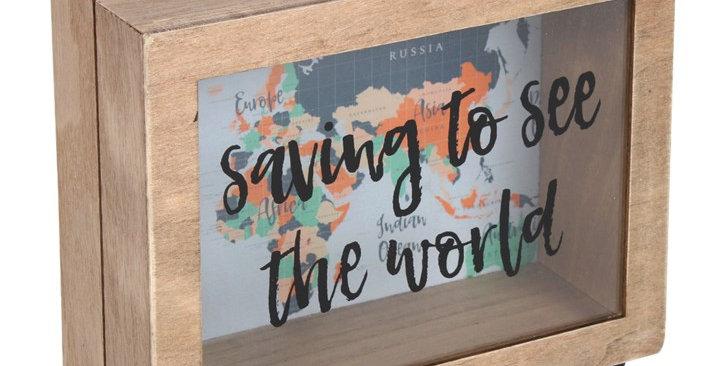 SAVING TO SEE THE WORLD MONEY BOX
