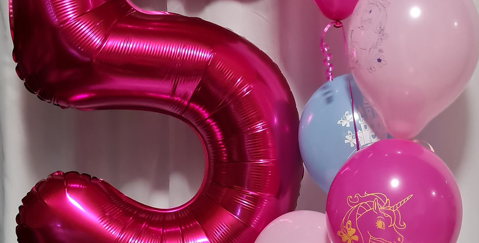 """1 number foil 34"""" balloon with 6 latex balloons including helium"""