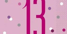 Age Pink Birthday Glitz Napkins - 33cm
