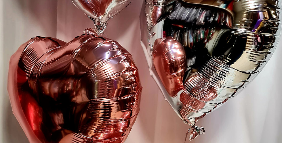 """4 heart foil 18"""" balloons including helium"""