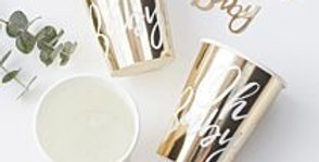 Oh Baby - Gold Foiled Oh Baby Paper Cups (8pk)