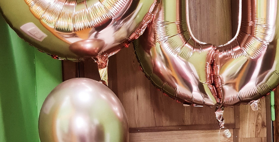 "2 foil numbers 34"" balloons with a bunch of 3 latex balloons"