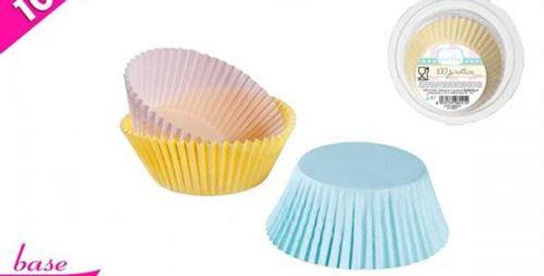 BOX 100 cupcake cases 9.5cm 3ass.colours