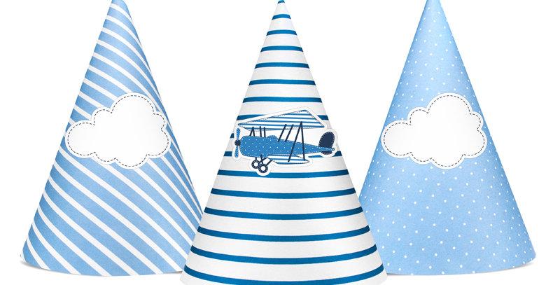 Little Plane Party Hats, mix, 16cm  6pk