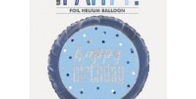 "Blue/Silver Glitz 18"" Foil Happy Birthday Prism"