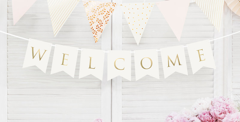 Banner, white with gold inscription Welcome, do it yourself, set contains letter