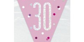 Age  Pink Birthday Glitz Prismatic Bunting - 2.75m  (each)