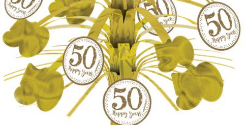 50th Gold Sparkling Wedding Anniversary Table Centrepiece (each)