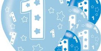 1st Birthday Blue Balloons - 11'' Latex (6pk)
