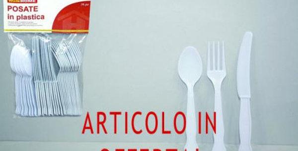 Plastic white disposable cutlery set 36pz
