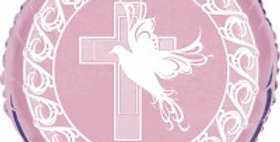 Dove And Cross Confirmation 18inch Pink Foil