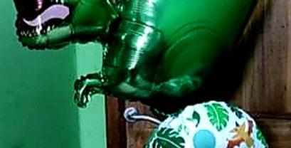 "Supershape dinosaur foil balloon including a 18"" foil .helium included"