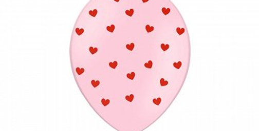 Balloons 30 cm, Hearts, Pastel Baby Pink 6pk