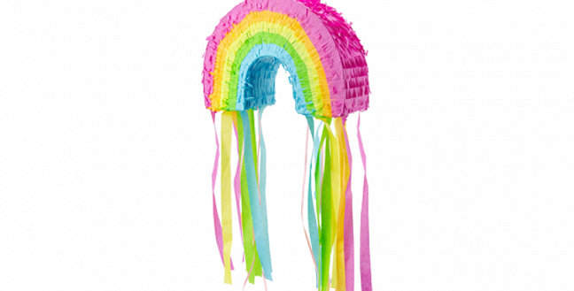 Pinata in shape of rainbow to fill with goodies, mix of colours, size approx. 30