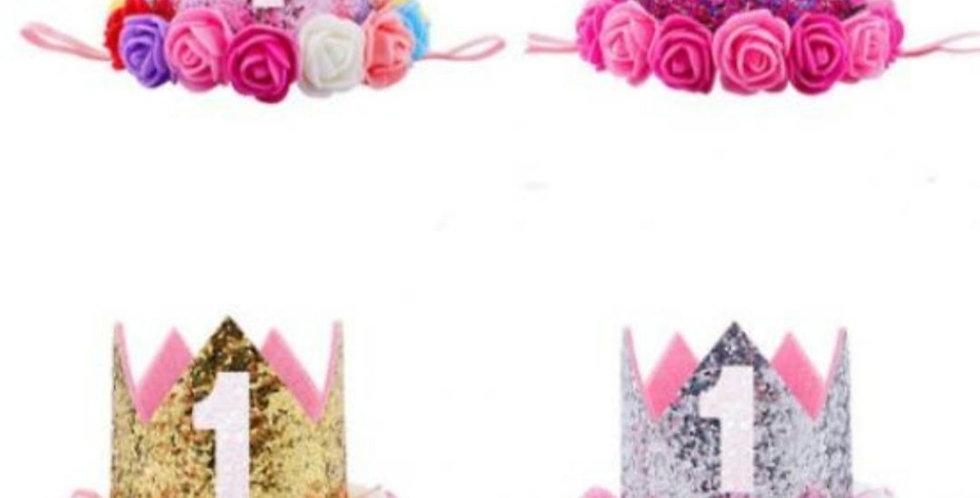 baby birthday crown 1st glitter elasticated