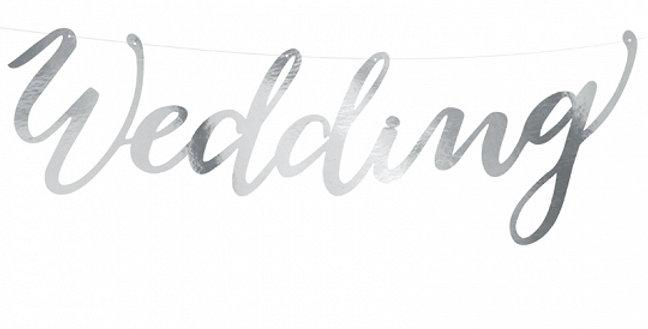 Banner Wedding, Elegant Bliss, gold/silver height 16.5 cm, length. 45 c