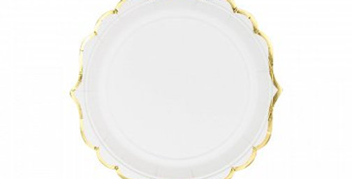 white plates with gold rim 18cm