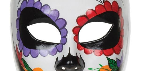 ADULT DAY OF THE DEAD MULTI COLOUR PLASTIC MASK FANCY DRESS ACCESSORY