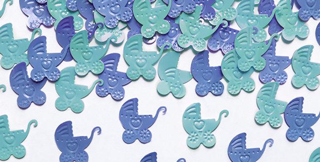 Confetti Prams, blue and sky-blue, size 1.8 centimeter z 1.9 centimeter.