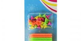 24pk Neon candles including bases