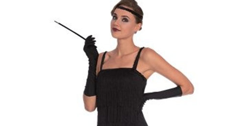 Black Flapper - Adult Costume  Dress, Headpiece and Gloves 8-10,10-12-14,14
