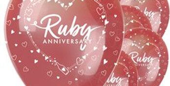 40th Ruby Wedding Anniversary Balloons - 11'' Latex (6pk)