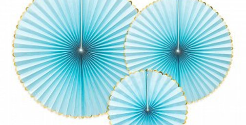 Decorative rosettes Yummy, light blue with gold edges, diameters approx.: 40 cm,
